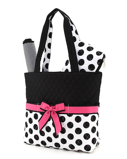 White With Large Black Dots Hot Pink Trim