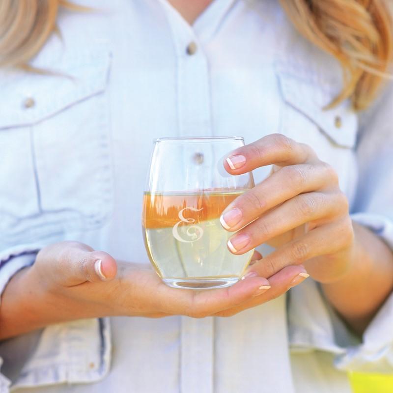 Glass Drinkware-monogrammed glasses, heartstrings, personalized glasses, monogrammed entertaining, monogrammed stemless wine, monogrammed stemless champagne, monogrammed Highball glasses, monogrammed champagne glasses, monogrammed wine glasses