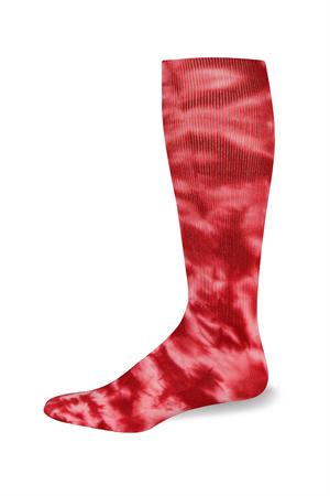 Profeet Tie Dye Knee-High Tube Sports Socks-red Tie dye multi-sport socks