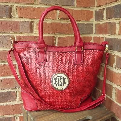 Lennox Handbag with monogram-monogrammed purse, purse with monogrammed medallion, handbag with monogram, personalized purse