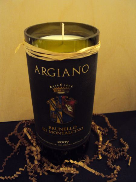 Candle-Argiano Brunello– Cinnamon-Wine Bottle Hand Crafted Candles Reclaimed wine bottles, Cinnamon Scented 100% Soy Wax, monogrammed candles, initial wine bottle candles