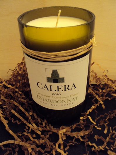 Candle-Calera Chardonnay – Berry Crème Brulee-Wine Bottle Hand Crafted Candles Reclaimed wine bottles