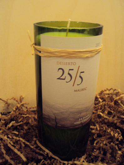 Candle-Desierto Malbac – Grapefruit-Wine Bottle Hand Crafted Candles Reclaimed wine bottles