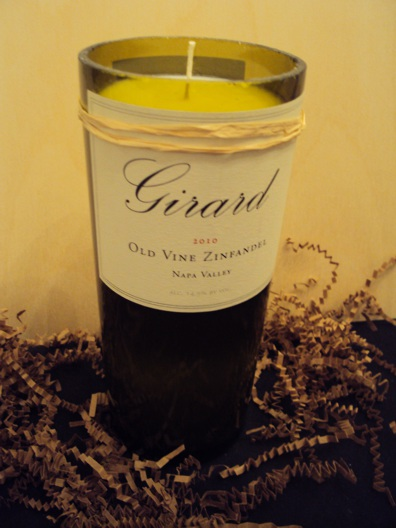 Candle-Girard Zinfandel – Grapefruit-Wine Bottle Hand Crafted Candles Reclaimed wine bottles