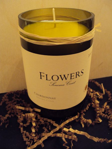 Candle-Flowers Chardonnay – Cinnamon-Wine Bottle Hand Crafted Candles