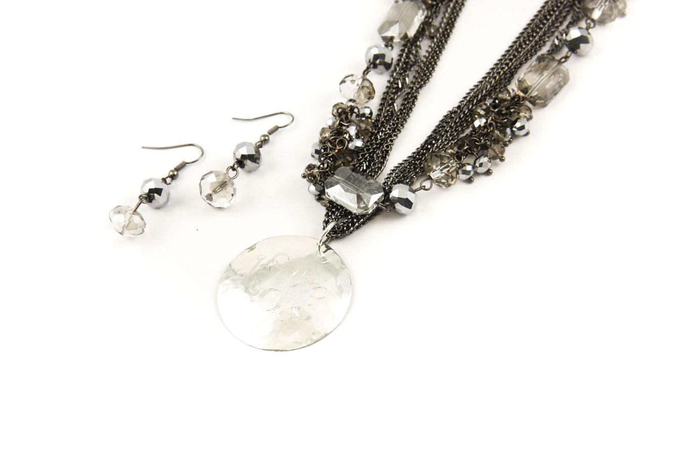 Hematite Crystal Monogrammed Necklace-Monogrammed Pendant Hematite Crystal Necklace, Hematite crystal earings