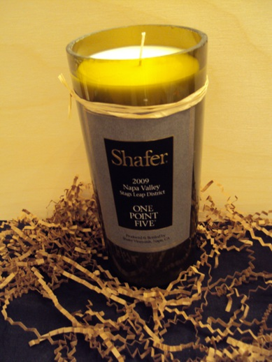 Candle-Shafer One Point Five – Grapefruit-Wine Bottle Hand Crafted Candles Reclaimed wine bottles