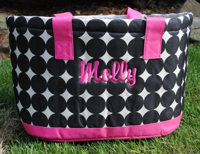 Insulated Cooler Monogrammed Canvas Bag Tote Personalized Gifts Chic Fashionable Polka Dot Retro