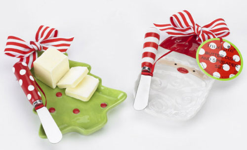 Holiday Ceramic Butter Dish-Ceramic butter dish with spreader, christmas, santa butter dish, christmas tree butter dish