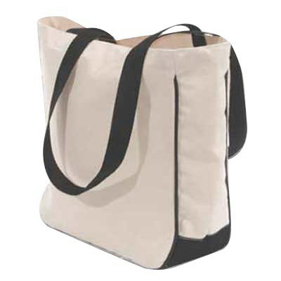 Tote- Natural Canvas with black handles-monogrammed tote, canvas, boat tote