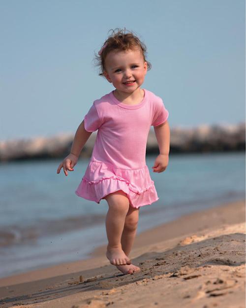 Ruffle Dress-ruffle cotton jersey embroidered toddler dress,