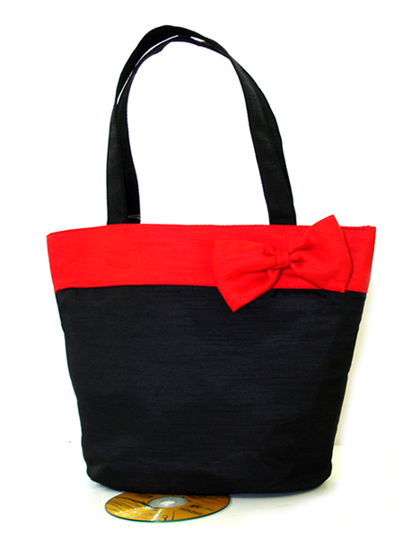 Tote- Black Thai Silk /w red ribbon-Monogrammed Black Thai Silk /w red ribbon Tote