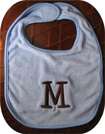 Bib with initial-initial, bib, personalized, baby, gift, fun, cute