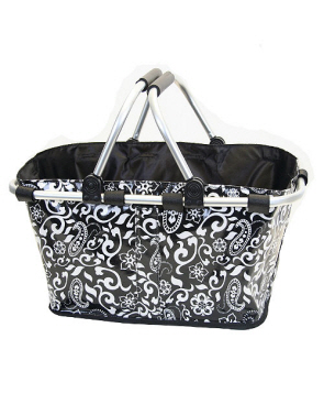 Market Tote- Laminated-monogrammed, laminated cotton market tote, collapsible