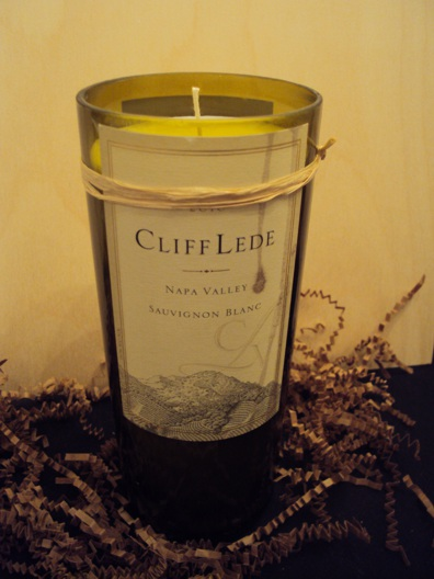Candle-Cliff Lede Sauvignon Blanc – Grapefruit-Wine Bottle Hand Crafted Candles