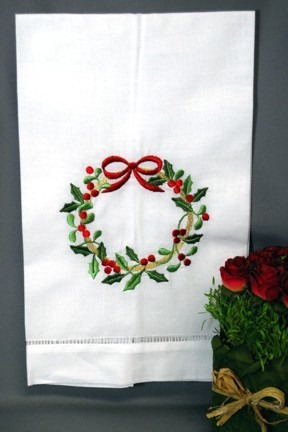Christmas Wreath Guest Towel-Embroidered Christmas Wreath Guest Towel