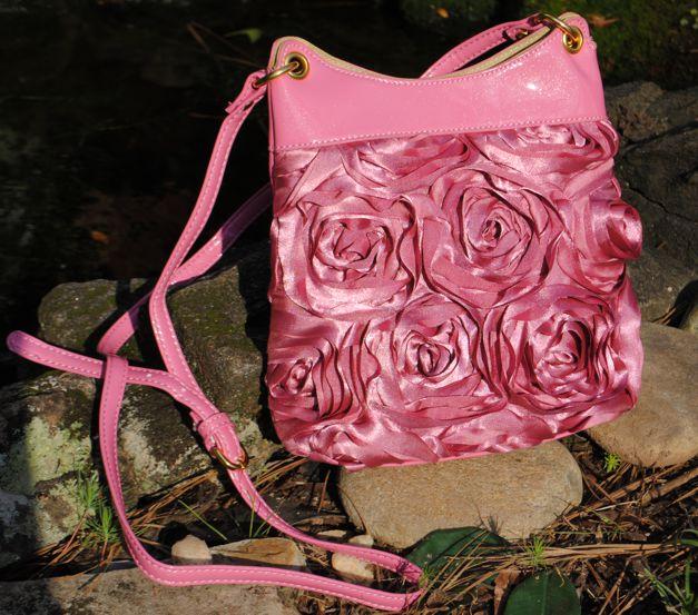 Rosette Handbag-flower bag, rosette handbag, crossbody rosette handbag