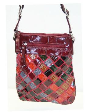 Handbag- Multi Woven Croc-Faux leather croq hipster handbag, trendy, boutique