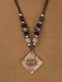 Jewelry- Necklace with brown marble pendant-Eclectic Engraved Marble Pendant Necklace, Diamond shape Beige Marble Pendant (P333) on brownsilver tone, marble, and wood beads, 26