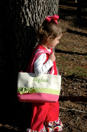 Canvas Tote with Polka Dot Ribbon Accent-monogrammed, personalized, canvas, tote, gift