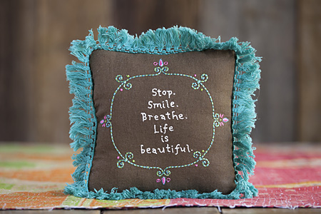 Embroidered Fringe Pillows-Natural Life, embroidered fringe pillows, monogrammed, inspirational message gifts