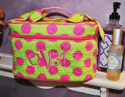 Polka Dot Cosmetic Case with Mirror-monogrammed polka dot monogrammed cosmetic case with mirror