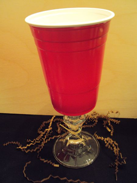 Red Solo Cup Wine Glass-The perfect Tailgate Stemware! Handmade Red Solo Cup Wine Glass