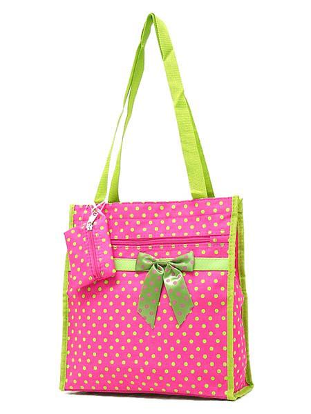 Polkadot Shopping Bag w/ Ribbon Accent-Polkadot Shopping Bag w/ Ribbon Accent