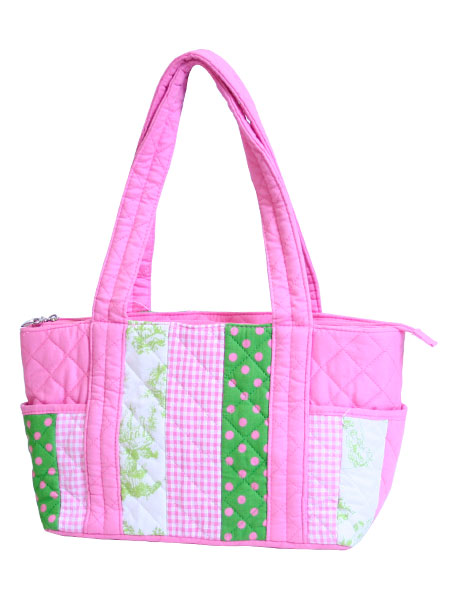 Pink Quilted Patch Tote-Monogrammed Pink Quilted Patch Tote
