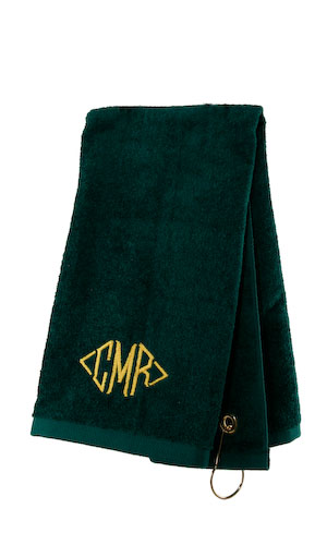 Deluxe Golf Towel-Monogrammed Black Deluxe Golf Towel, 16 x 26, 3.5 lb velour, end hook and grommit in corner, Heartstrings