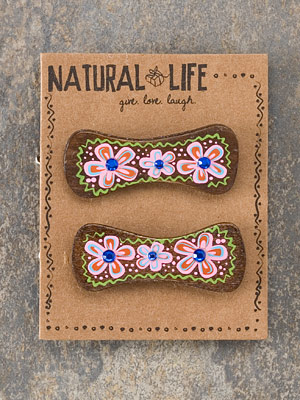 Wood Barrettes- Natural Life-wood barrettes natural life