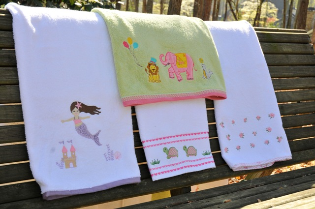 Children's Bath Towel-children's monogrammed towel, frog, lily, dots, circus, mermaid, monkeys, roses, turtles, christmas, penguins, stripe, monogrammed, personalized, bath, towel, gift, ssmonogramgifts