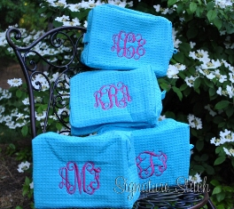 Cosmetic bag- large waffle weave-Monogrammed cosmetic Bag- large waffle weave