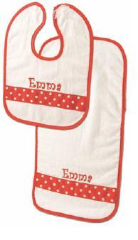 White velour Bib & Burp with ribbon accent-Monogrammed White velour Bib & Burp with ribbon accent, Heartstrings, Monogrammed baby gifts