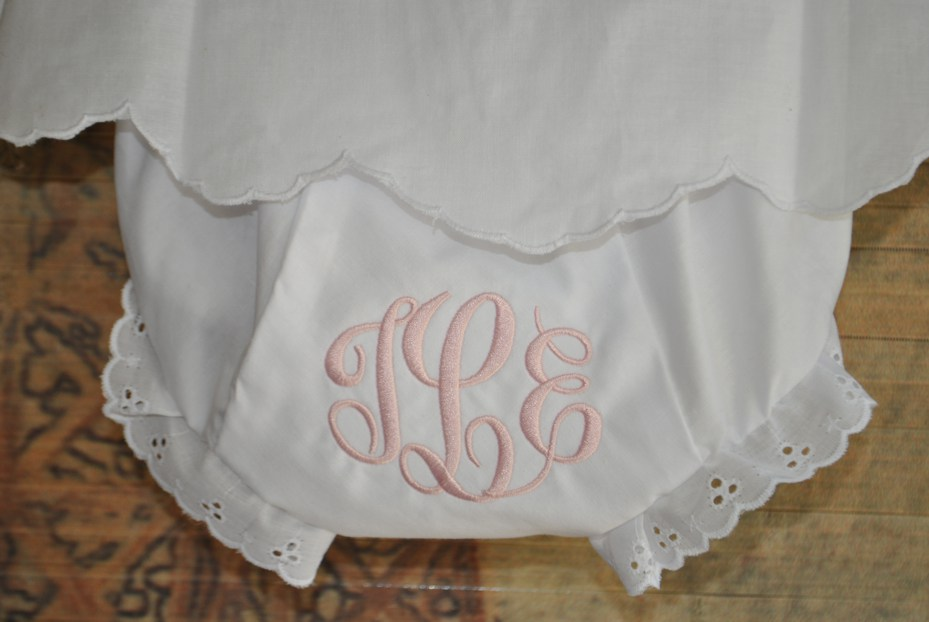 Baby Bloomers-personalized bloomers, monogrammed bloomers, baby bloomers, baby diaper cover, personalized baby bloomers, monogrammed baby bloomers, monogrammed diaper cover, personalized diaper cover, eyelet trimmed bloomers