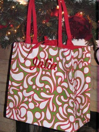 Holiday Market Totes by Buckhead Betties-Monogrammed Buckhead Betties Holiday Market totes, paisley, polka dots
