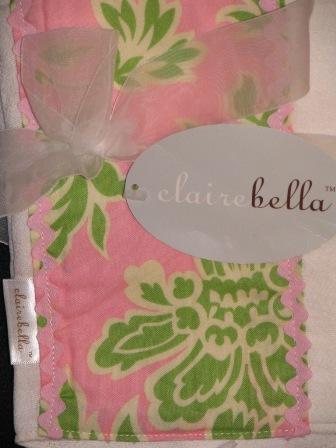 Burp Cloth- Clairebella floral-Posh Baby Gift, Monogrammed burp cloth