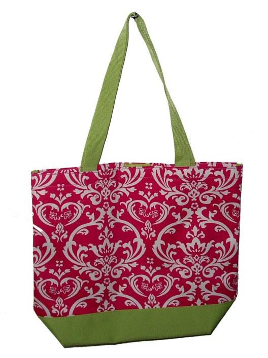 Damask Beach Bag 03D-Monogrammed Zebra Beach Bag, Shopping tote/book bag, Damask Beach Bag