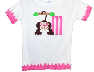 Double Ruffle Embroidered Toddler Shirt-Double ruffle embroidered toddler shirt