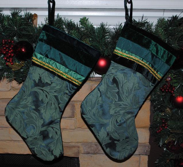 Holiday Stockings- Green Velvet-Monogrammed Holiday Stockings
