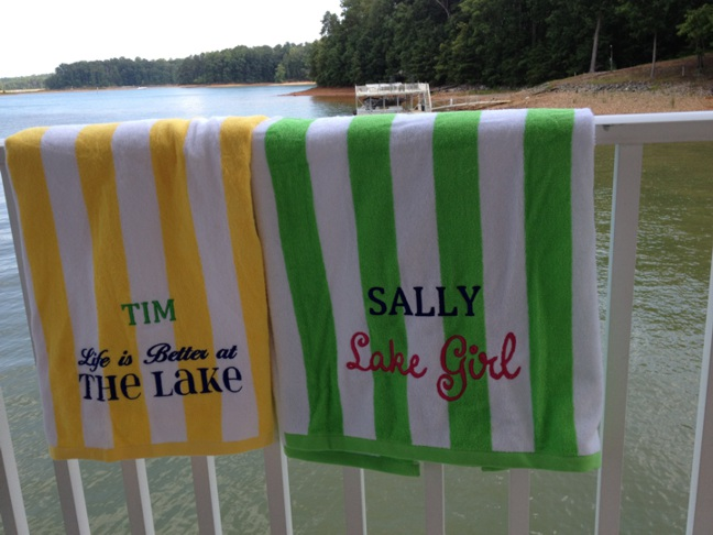 Lake House Towel- Cabana Stripe-Monogrammed Cabana Stripe Lake Towel, Lake house hospitality gifts, Lake Gifts, Lake house housewarming gifts