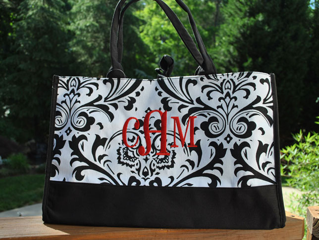 Large Highland Gal Tote-Monogrammed Black and White Damask Tote
