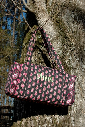 Paisley Quilted Small Duffle-monogrammed overnight quilted duffle bag for girls sleepovers