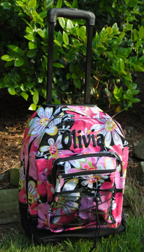 Backpack- Rolling-monogrammed, personalized, backpack, rolling, zebra colors, zebra rolling backpack