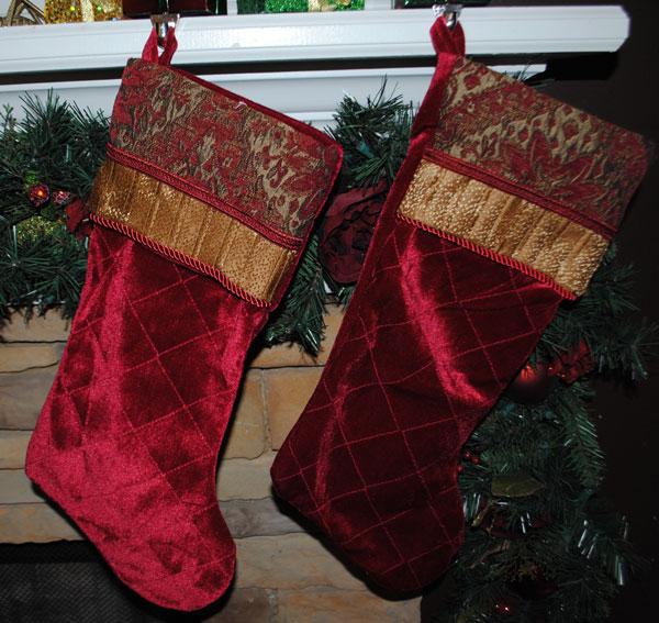 Holiday Stockings- Red Velvet-Monogrammed Holiday Stockings