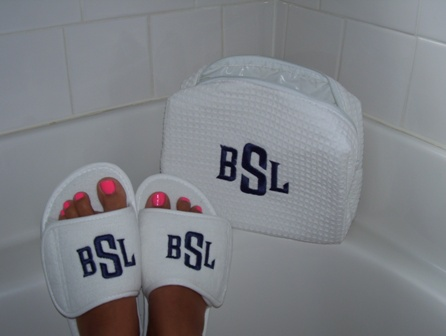 Monogrammed Spa Slippers-monogrammed, spa, slippers, wedding, gift, bridesmaid, gift, personalized