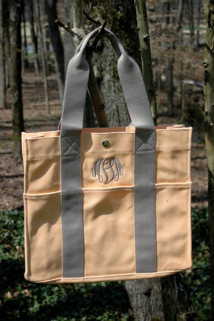 Large Tangerine Tote-Monogrammed Large Canvas Tote
