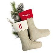 Monogrammed Jute Christmas Stocking-Monogrammed Jute Christmas Stocking
