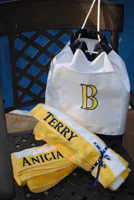 Beach Bag-Monogrammed Beach Bag by Signature Stitch