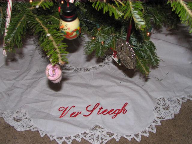 Battenburg Lace Tree Skirt-Battenburg Lace Tree Skirt, personalized, monogrammed tree skirt